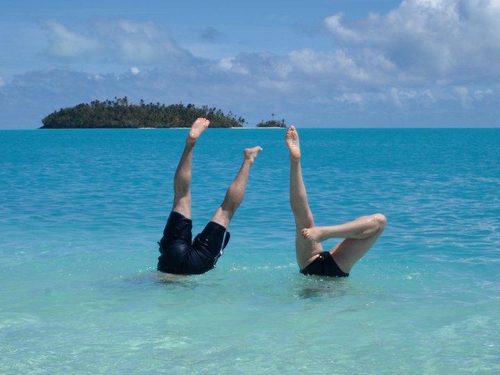 Head over heels, Aitutaki, Cook Islands